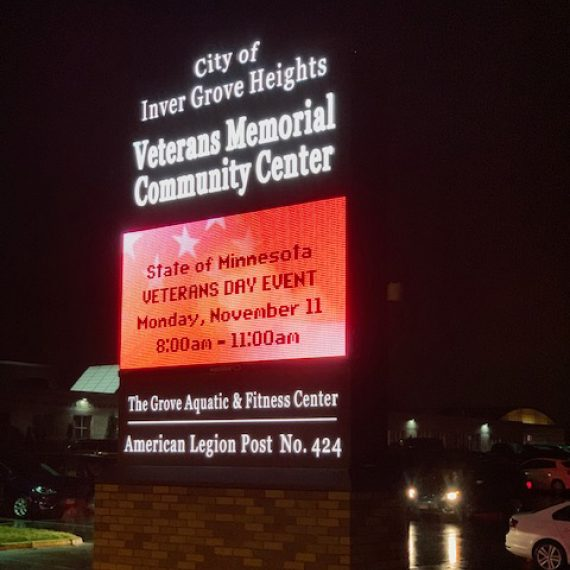 Veterans Memorial Community Center Exterior Signage by Schad Tracy